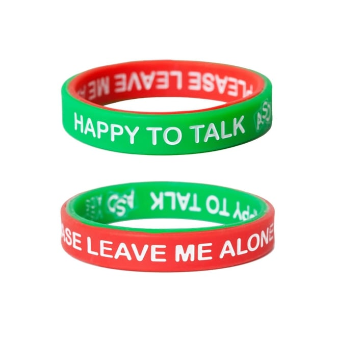 "wrist band - I love these wristbands one side is green and says ok to talk flip it over to the red side for ""leave me alone""https://www.sensetoys.com/communication-language-literacy-c24/communication-c27/mood-bands-adult-pack-of-3-p884"