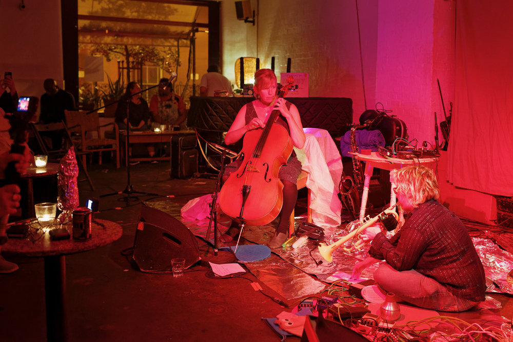 "May 2018 - ""The Hairdressers"" had our 2nd gig at cafe OTO supporting the Bitchin Bajas(http://www.dragcity.com/artists/bitchin-bajas)"