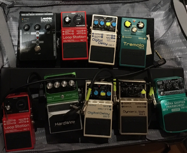 2019 pedalboard setup featuring eventide mixing link