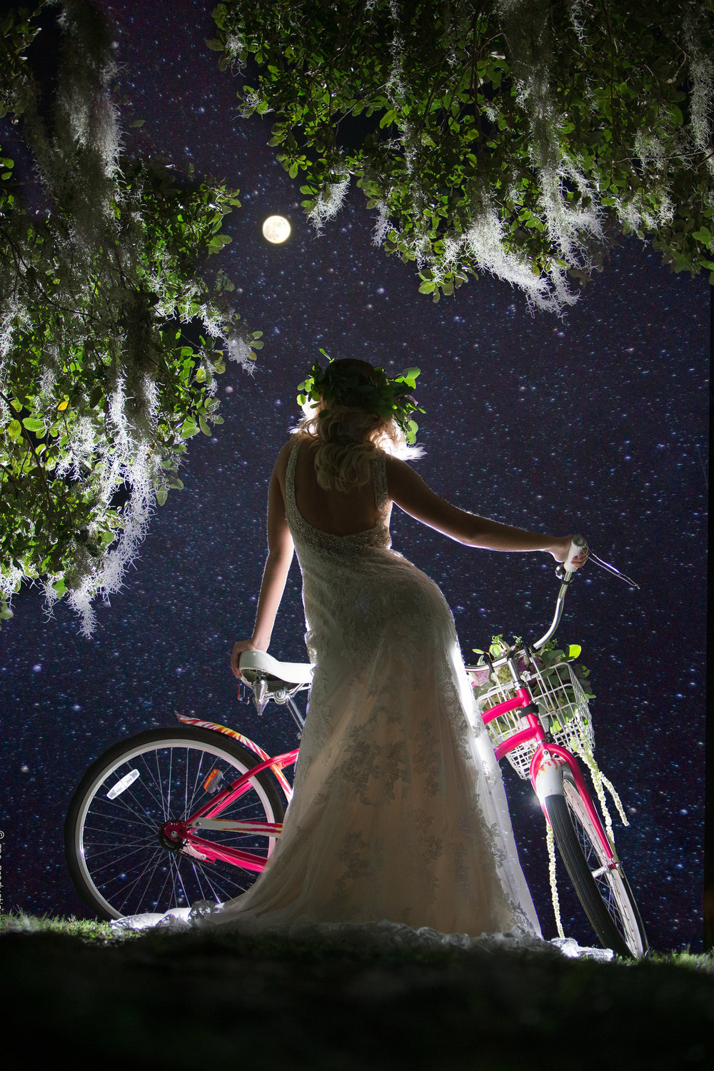 Stylish bridal portrait with bride standing under the moon and stars