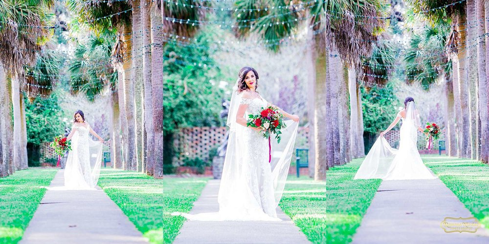 bride in wedding dress walking on path of palm trees at brookgreen gardens during bridal session with ramona nicolae photography at brookgreen gardens -4.jpg