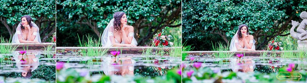 bride smiling surounded by flowers at brookgreen gardens for her bridal session with ramona nicolae photography in myrtle beach sc-4.jpg