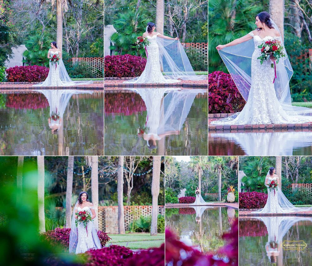 gorgeous water reflection of bride and red flowers during her myrtle beach bridal shoot at brookgreen gardens with ramona nicolae photography-3.jpg