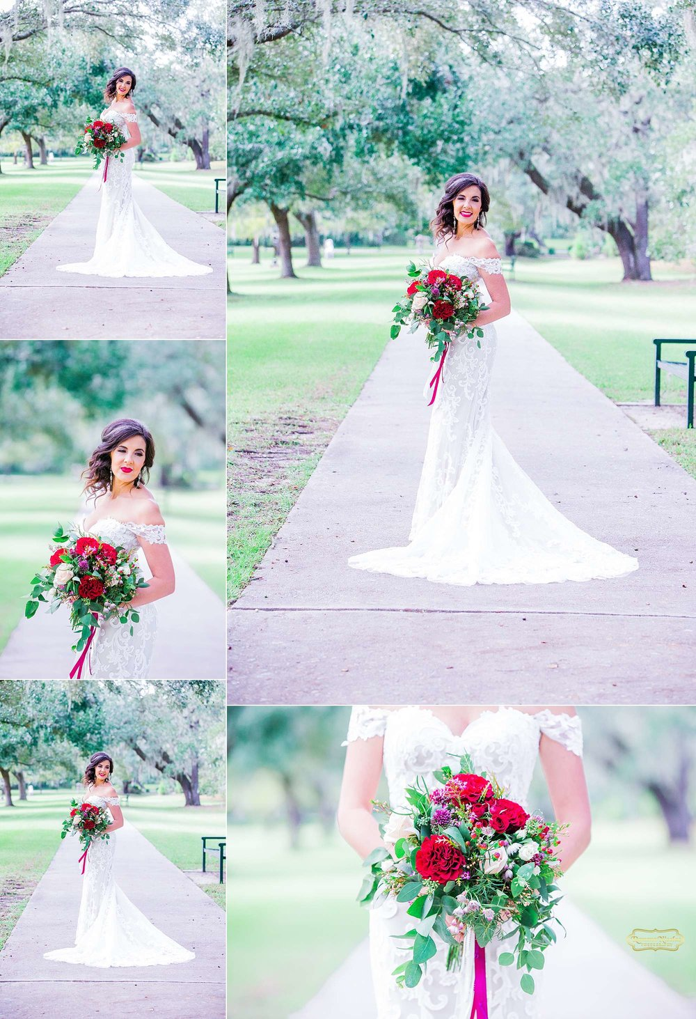 happy bride with red wedding bouquet at brookgreen gardens for bridal session with ramona nicolae photography-8.jpg