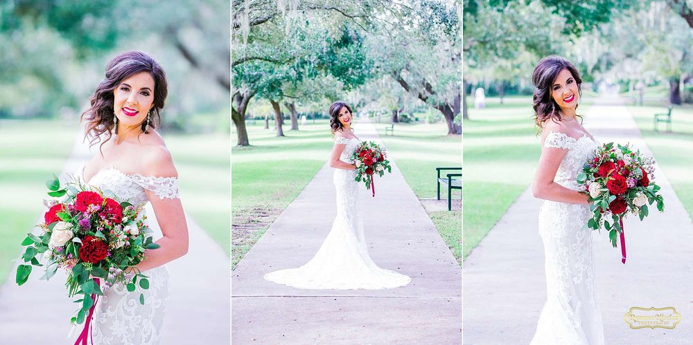 happy bride with red wedding bouquet at brookgreen gardens for bridal session with ramona nicolae photography-9.jpg