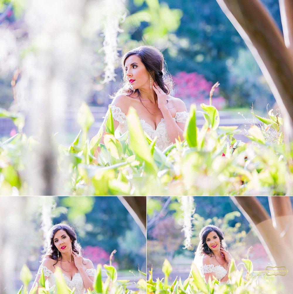 stunning bride between greenery with red lipstick at brookgreen gardens by ramona nicolae photography best myrtle beach photographer-1.jpg