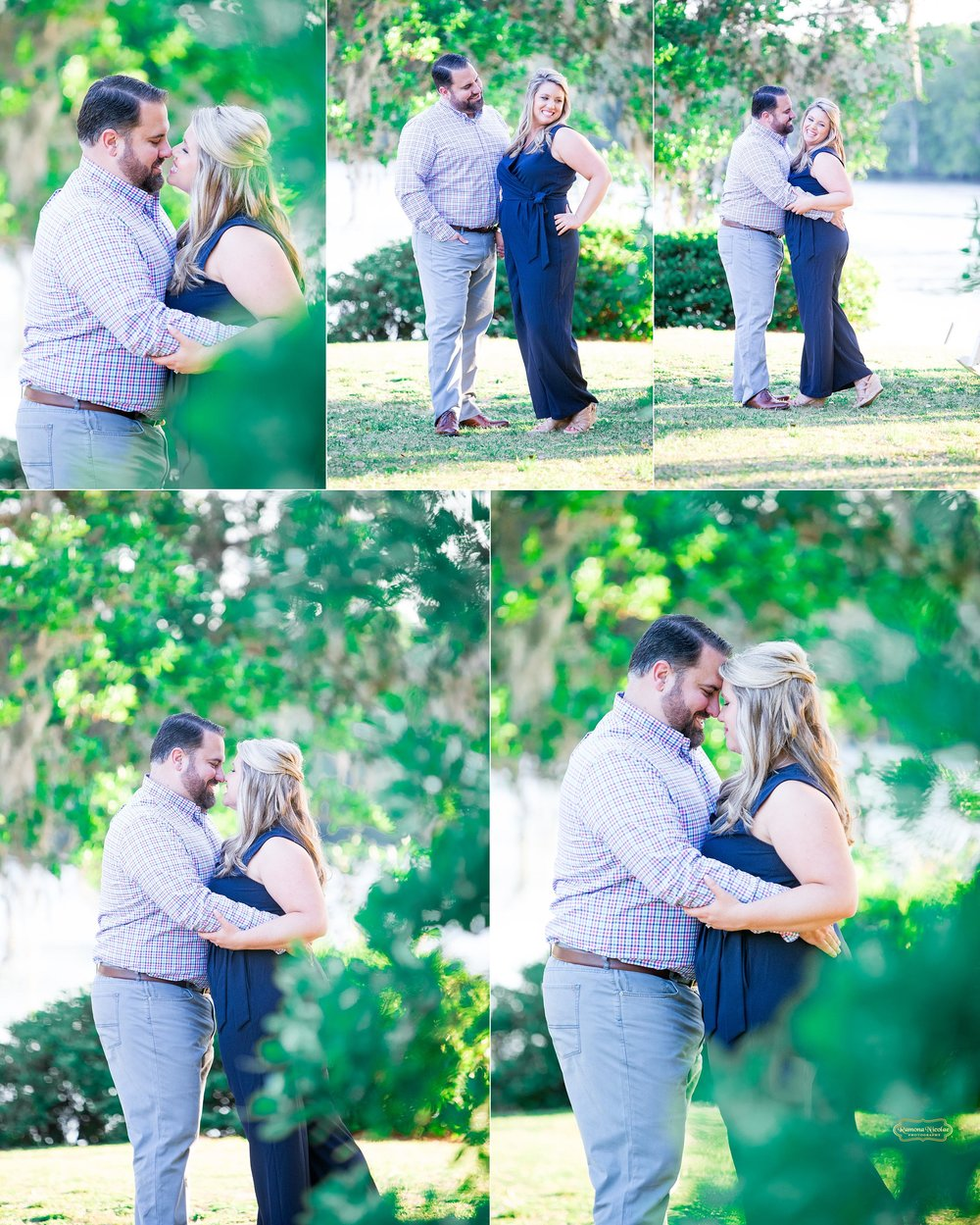 close ups of couple in greenery at wachesaw plantation for engagement pictures with ramona nicolae in murrells inlet.jpg