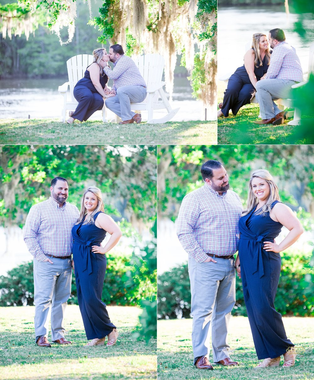 couple intimate moments for engagement shoot at wachesaw plantation eith lady dressed in blue romper with ramona nicolae photography.jpg