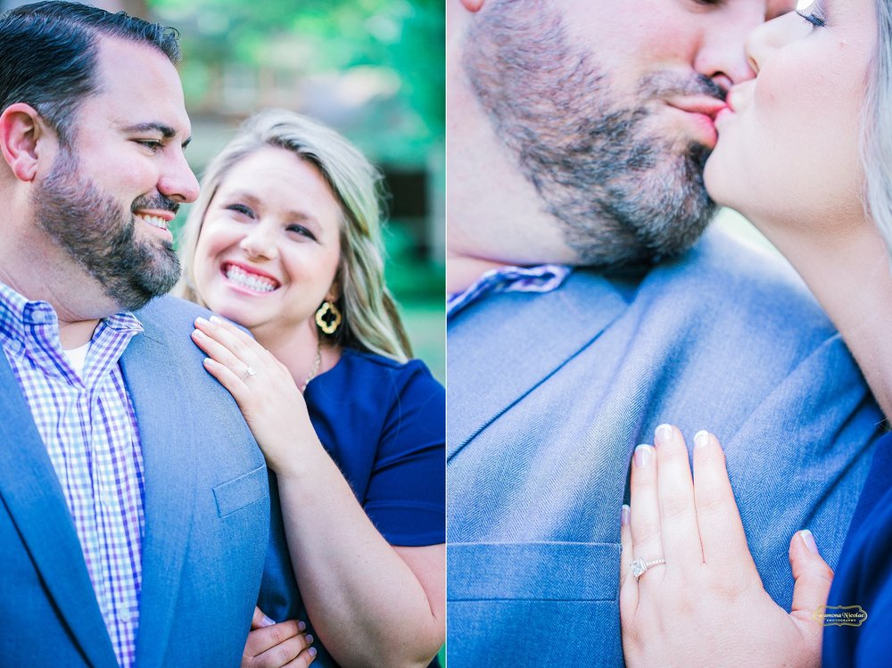 couple kissing and engagement ring details during bridal session at wachesaw plantation with ramona nicolae photography.jpg
