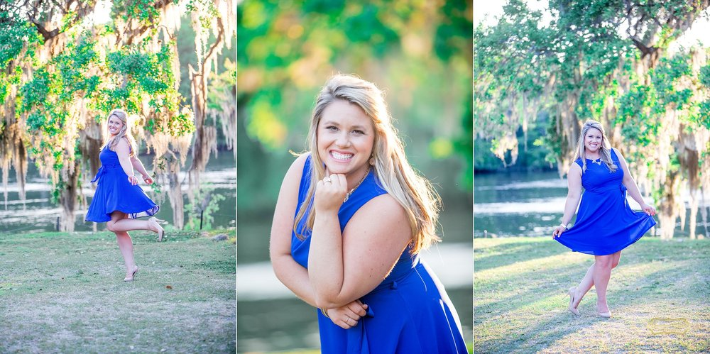 girl smiling dressed in blue laughing spinning at wachesaw plantation for engagement shoot with ramona nicolae.jpg