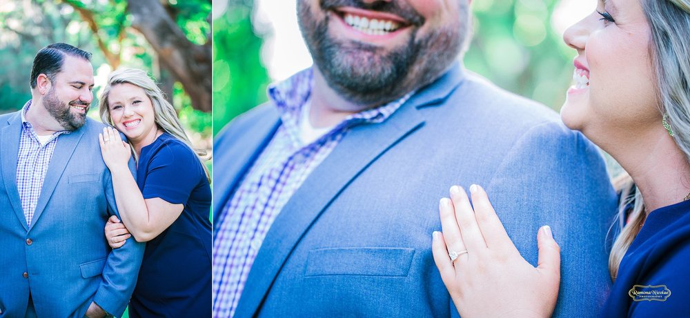 ring details during engagement session at wachesaw plantation while couple is smiling.jpg