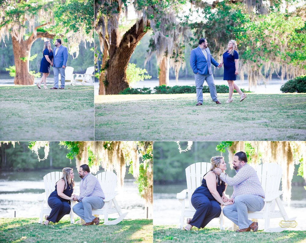 wachesaw plantation engagement sitting on white rocking chairs photographed by ramona nicolae in murrells inlet.jpg