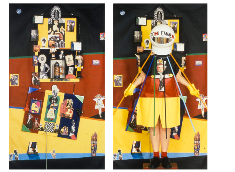 ON LEFT: Schlemmer etc. / ON RIGHT: Schlemmer Costume (Rhonda Wall), with piece, collage.