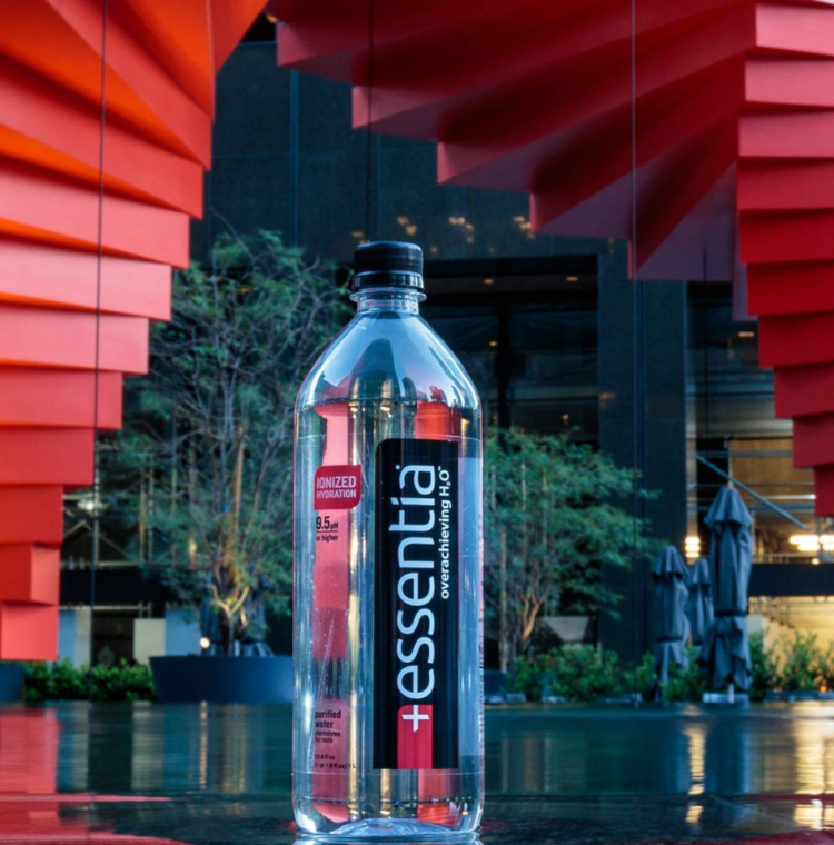 - Essentia WaterEssentia drinking water is purified through micro-filtration, UV lighting and reverse osmosis; with no chlorine or flouride. Essentia water provides unmatched hydration, health benefits and smooth taste with enhanced pure minerals that are restructured through ionic separation.