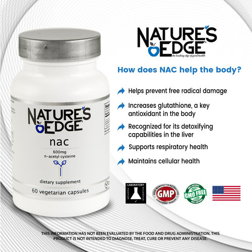 NAC - A Very Potent N-Acetyl Cysteine Supplement 600mg - 60 Vegetarian  Capsules by Nature's Edge®