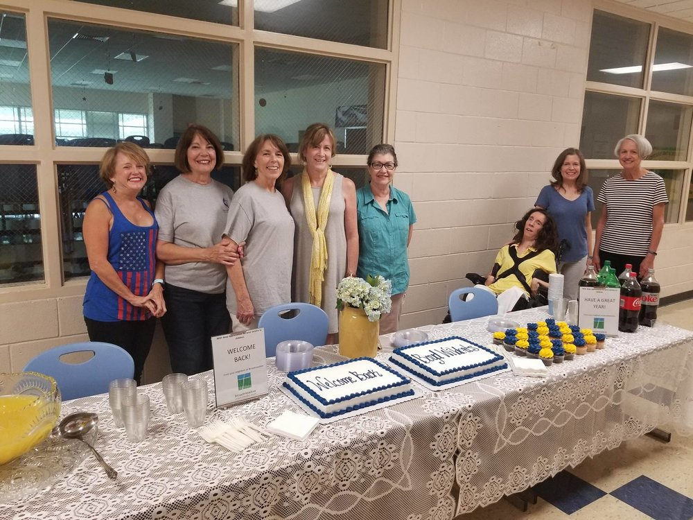 "A few of Broadmeadow UMW members at the Boyd Elementary ""Welcome Back to School"" party."