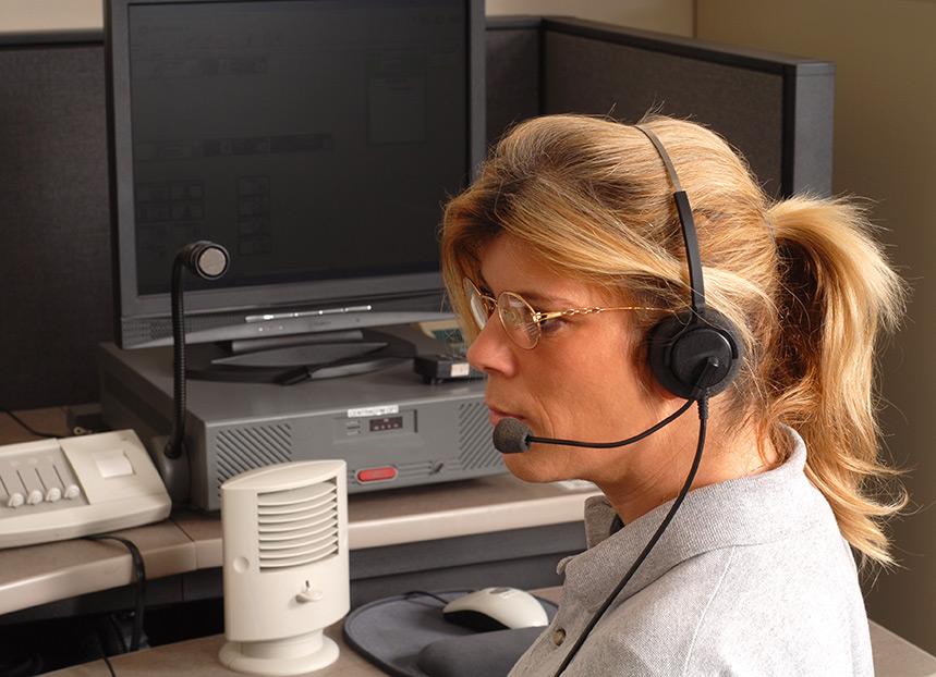 An operator responding to an alarm
