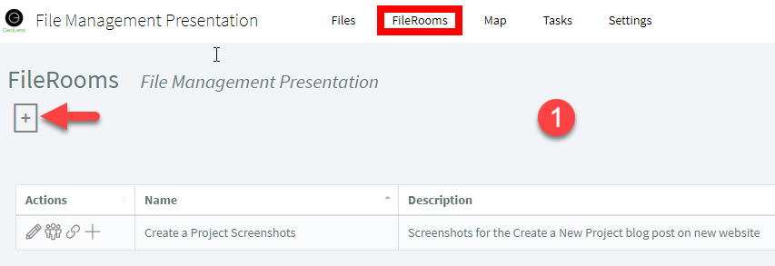 Option 1 — Click the Create FileRoom icon on the FileRooms page.