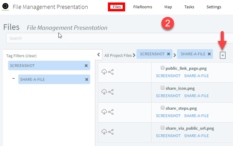 Option 2 — Click the Create FileRoom icon next to the names of your filtered Tags.
