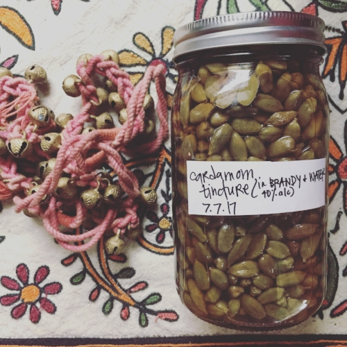 cardamom tincture*  - what can't cardamom do?! a little bit goes a long way with this one. it beautifully enhances the function of other herbs when combined.it supports us with: digestion-related issues (nausea, acid, constipation, gas, bloating, loss of appetite), depression, removing waste, toxins, excess water, and infections from the urinary tract, bladder, and kidneys, lowering blood pressure, blood clots, inflammation, and is an aphrodesiac. $10 per 1 oz bottle$20 per 2 oz bottle*can also be added to other tinctures to boost their function, per your request.