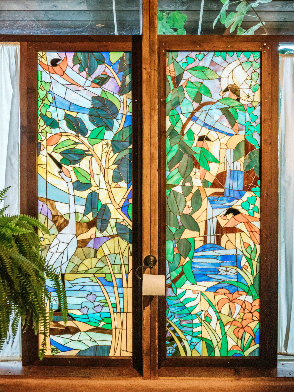 Earthship Stained Glass Interior Bathroom