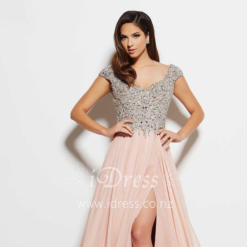 a-line-pink-chiffon-beaded-cap-sleeve-slit-ball-dress-1.jpg