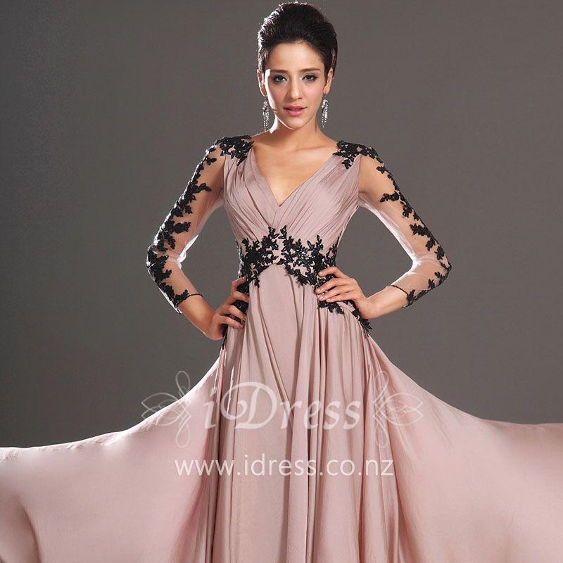 long-sleeve-black-lace-v-neck-blush-chiffon-long-evening-dress-1.jpg
