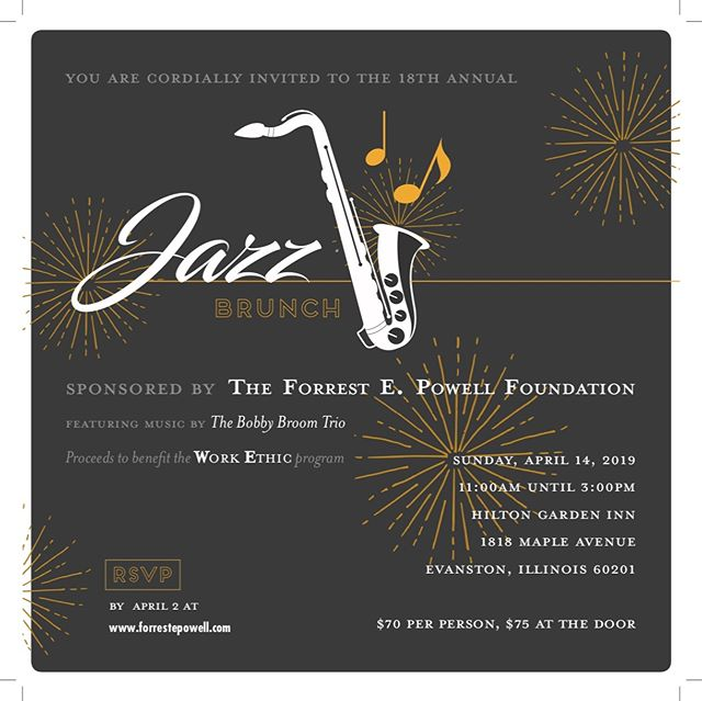 You're cordially invited! Join us April 14th 11am to 3pm for a jazzy good time with good eats and for a very good cause. RSVP at www.forrestpowell.com 🎶 🎺