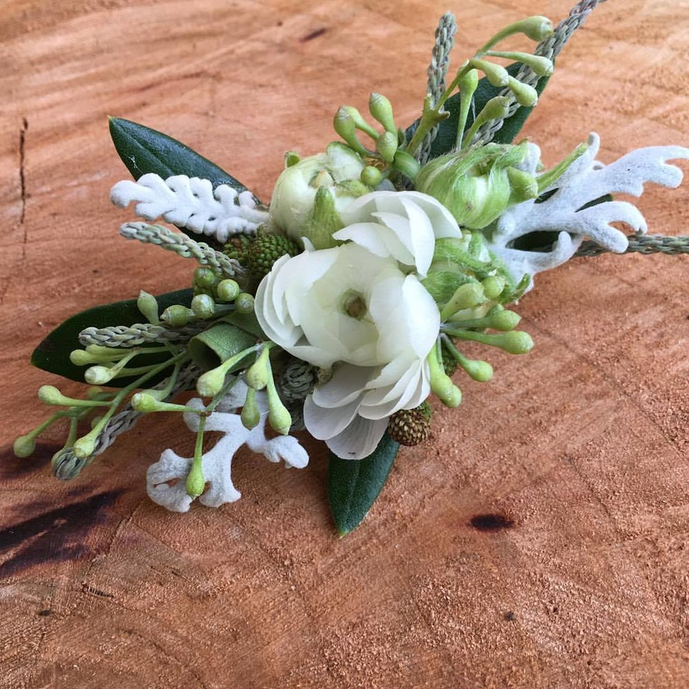 Floral barrette with ranunculus, dusty miller, eucalyptus seeds, olive branch, brunia and brasilia.