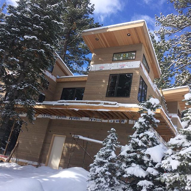 This house and several others are being constructed in a new area in Squaw Valley. They have been built from prebuilt modules and placed on sight. Mixed reviews from the builders. They like that it is  quickly weather tight, but lot of little issues getting 10'x40' blocks to line up.