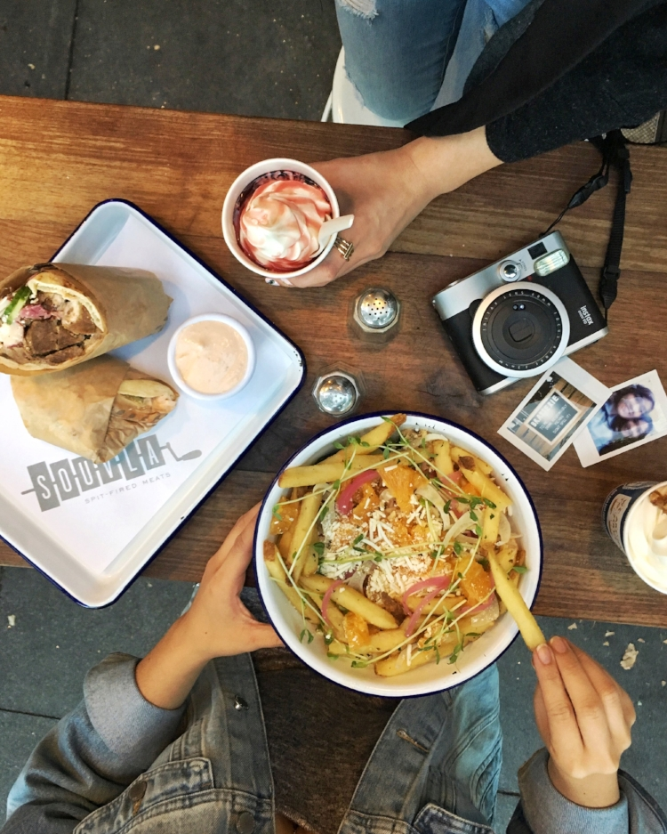 Souvla's chicken salad and lamb gyro. Don't forget to get their greek yogurt :)!