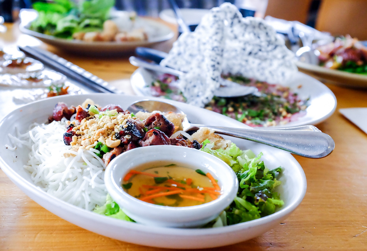 Grilled Lemongrass Pork Shoulder: rice vermicelli noodle, imperial roll, cucumber, mint, peanut