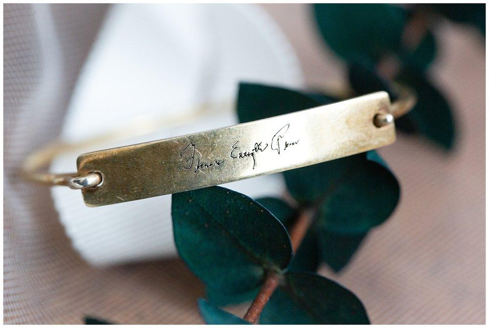 Unique bracelet engraved with the bride's grandmother's signature