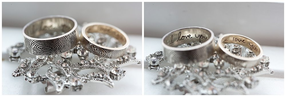 Wedding rings engraved with fingerprints on the outside and text on the inside