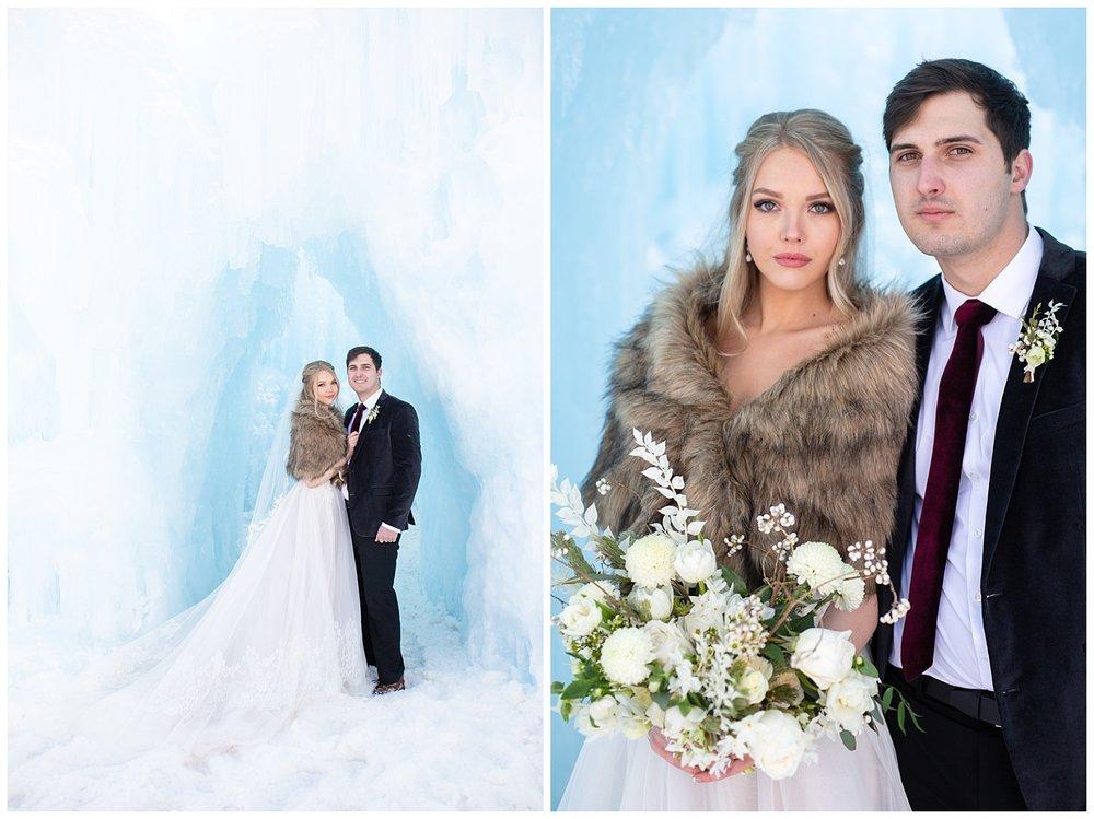 winter photos of a bride and groom in Breckenridge, Colorado