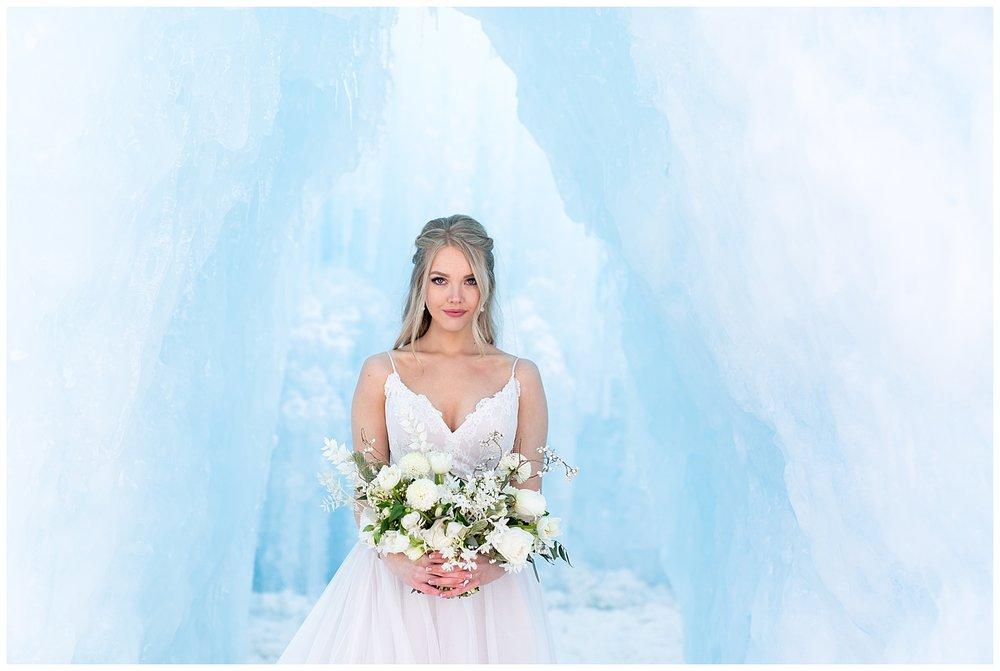 a winter shoot of a bride at the Dillon Ice Castles in Breckenridge, Colorado