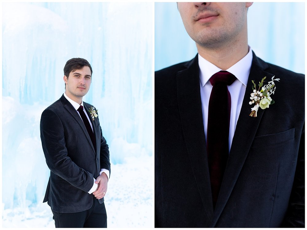 A groom shows off his boutonnière
