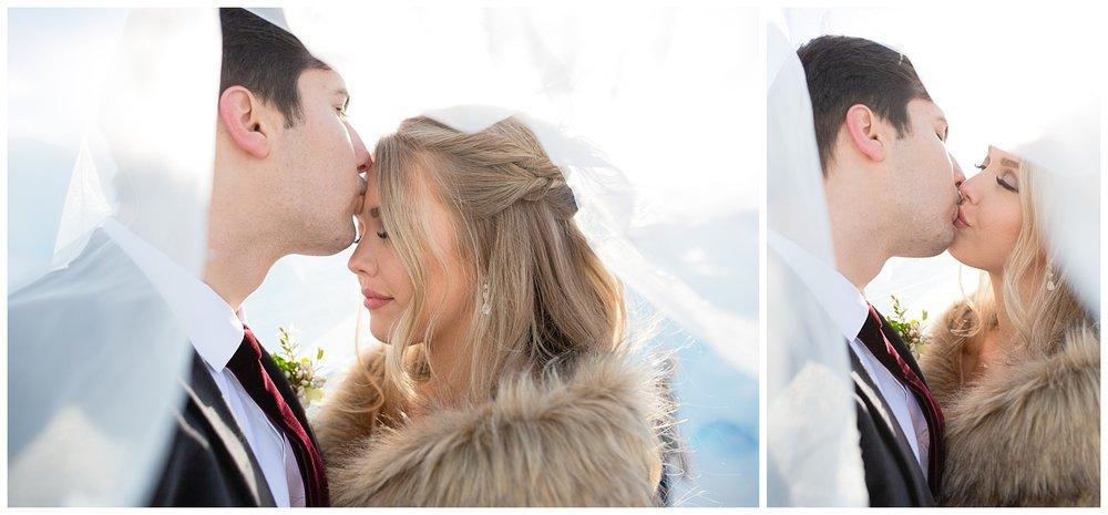 A couple kissing underneath a bridal veil