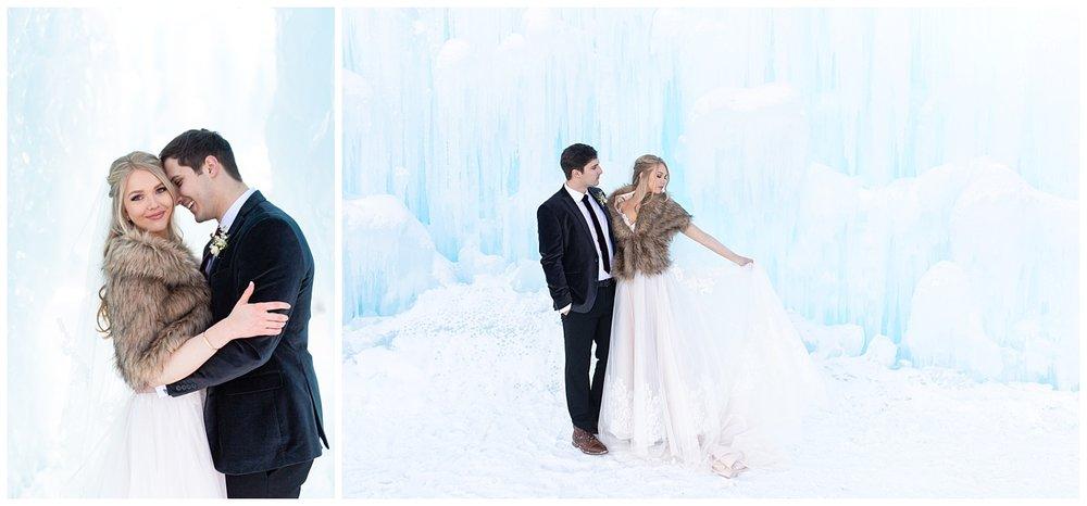A happy couple at the ice castles in Dillon, Colorado
