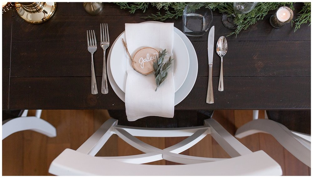 A place setting at a private home wedding in Colorado