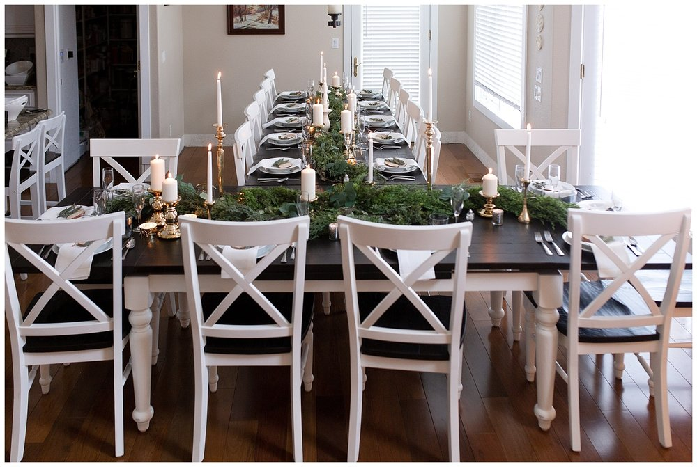 A small table setting for a wedding at a private home in Colorado