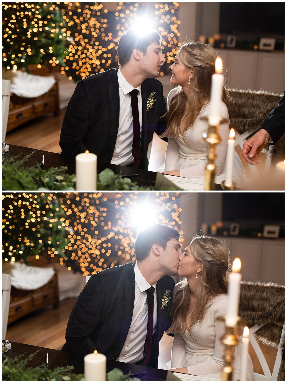 The groom kisses his bride right after signing their marriage license with a big light flare behind their heads