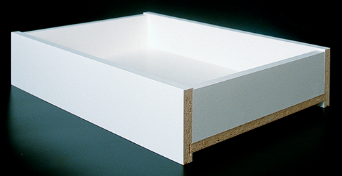 White Melamine on Particleboard drawer box