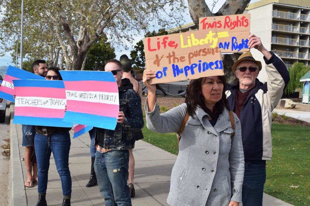 Supporters gather for Transgender Day of Visibility Rally in downtown Santa Maria - Logan B. Anderson, SM Times - March 24, 2017