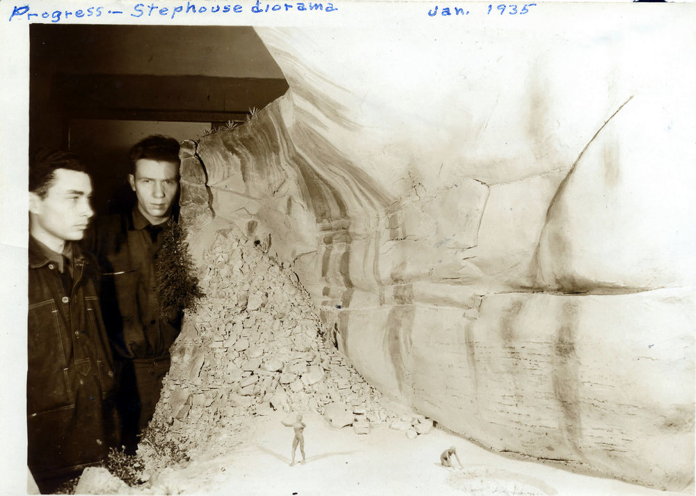 Progress on the Step House diorama, January 1935. NPS Photo.
