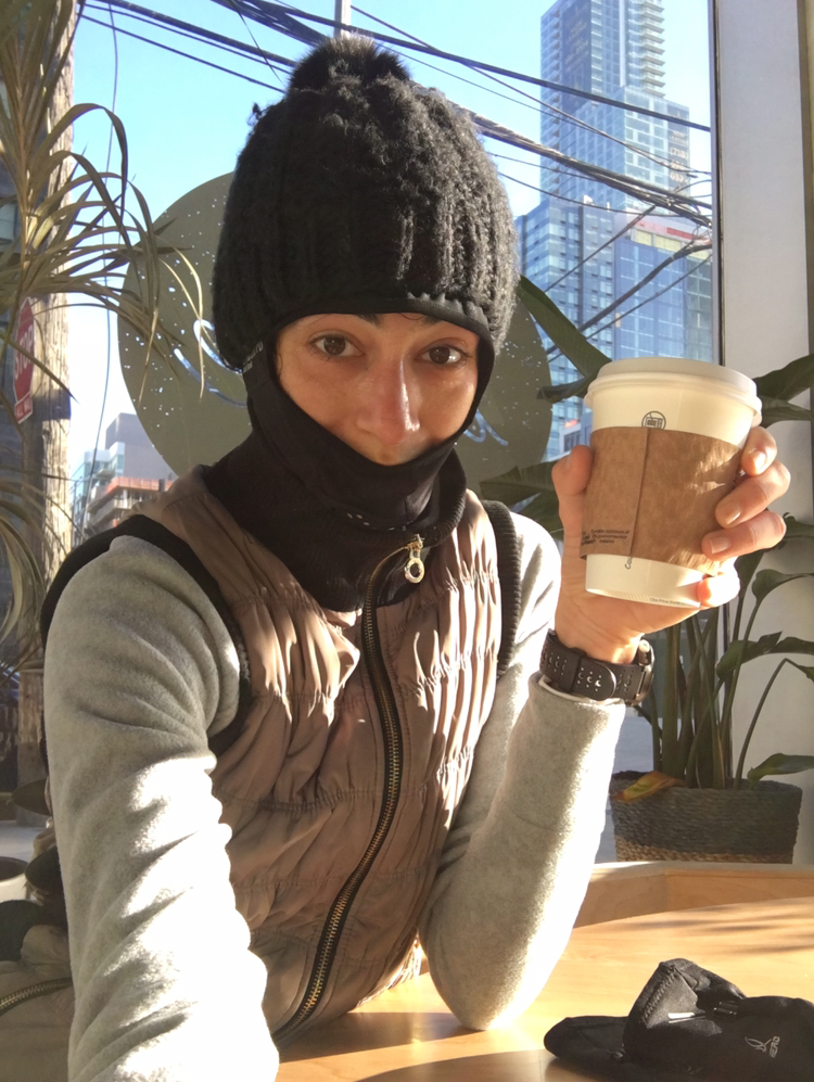 Post-run coffee warm down