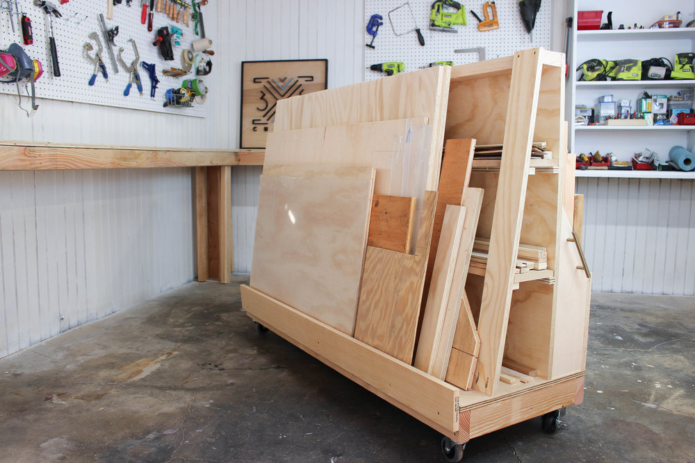 3x3 custom rolling scrap wood storage cart