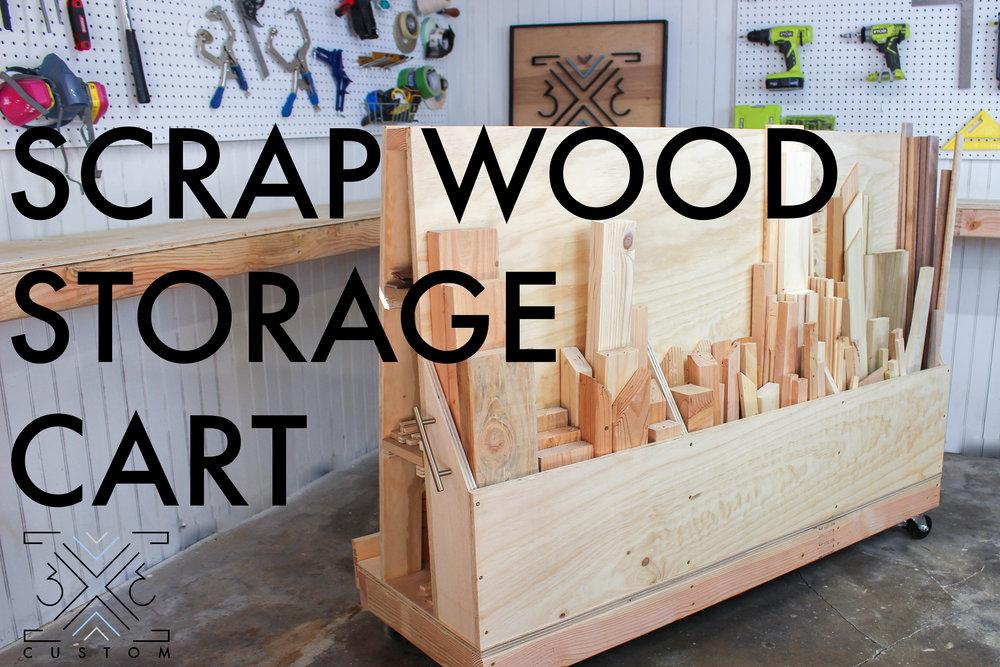 Rolling Scrap Wood Storage Cart 3x3 Custom