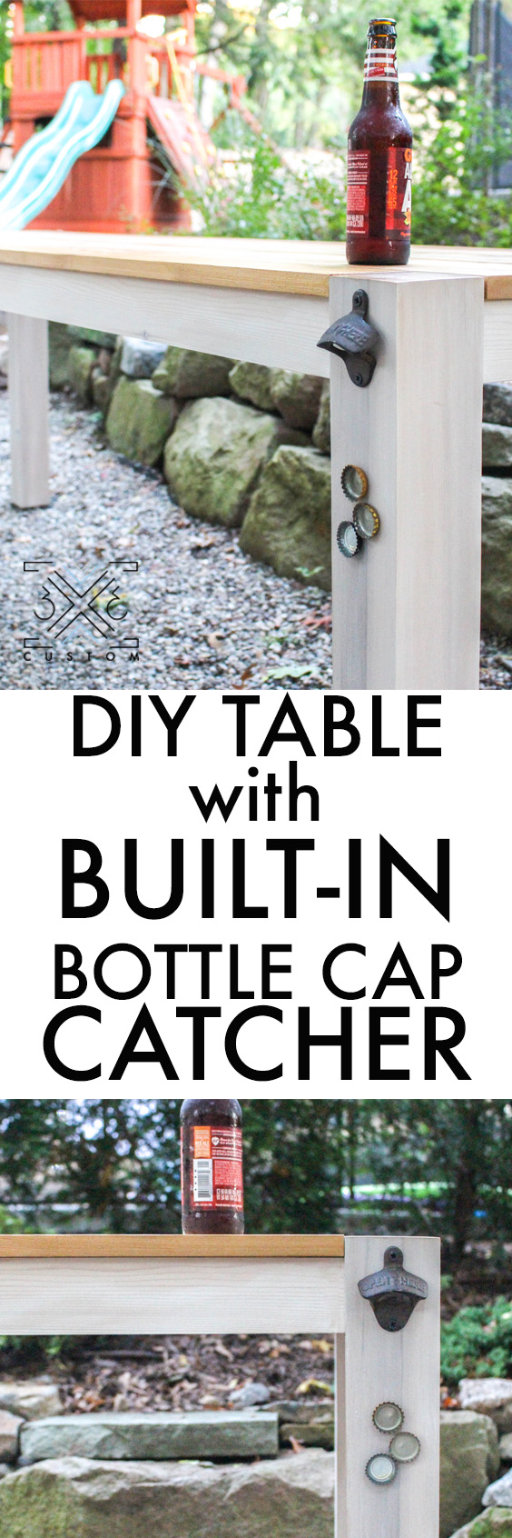 3x3 Custom Outdoor Table with Built-In Bottle Cap Catcher