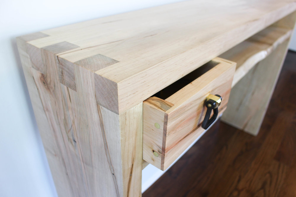 3x3 Custom Ambrosia Maple Box Joint Entryway Table
